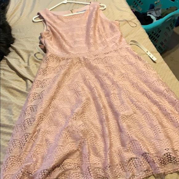 Blush, lace, sleeveless dress with matching belt.